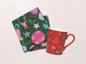 ゴディバ|ホリデーシーズンを華やかに彩るクリスマスコレクション「オリジナル マグカップ&ランチクロス」プレゼント